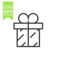 gift box with ribbon line icon outline vector image vector image