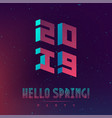 hallo new spring 2019 party futuristic design vector image