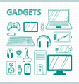 hand drawn green pen electronic gadgets set vector image