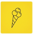 Ice cream with three balls icon Sweet dessert vector image
