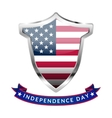 Independence Day Silver shield and ribbon with the vector image