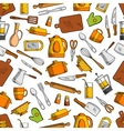 Kitchen utensils and appliances seamless pattern vector image