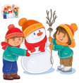 little girl and boy making a snowman vector image vector image