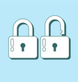 lock icon in flat style lock open and lock closed vector image