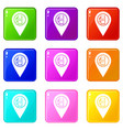 map pointer with gas station symbol icons 9 set vector image vector image