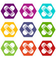 medical patch icon set color hexahedron vector image vector image
