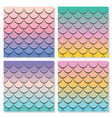 mermaid tail pattern set paper cut out 3d fish vector image