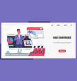 online meeting landing page website interface vector image