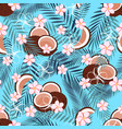 pattern with coconut on blue vector image vector image
