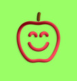 plastic apple with smile in 3d style vector image