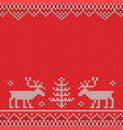 red knitted sweater with deer knitted pattern vector image