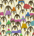 Retro Seamless Pattern With Penguins vector image