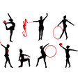 rhythmic gymnastics silhouettes vector image vector image