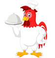 rooster chef cartoon vector image vector image