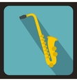 Saxophone icon flat style vector image vector image