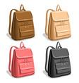 set colorful woman backpacks vector image vector image