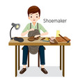 shoemaker repairing man shoes he sewing on shoe vector image vector image