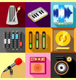 sound recording studio icons set flat style