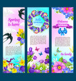 spring holidays greeting flowers banners vector image