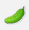 sticker green cucumber with a stem vector image