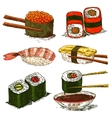 tasty rolls and sushi set vector image vector image