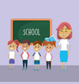 teacher woman educated the students vector image