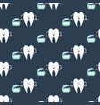 tooth and dental floss pattern vector image