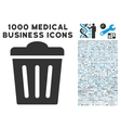 Trash Can Icon with 1000 Medical Business Symbols vector image vector image