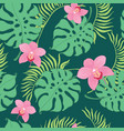 tropical orchid flowers seamless repeat pattern vector image vector image