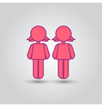 Two female stick figures standing beside each vector image vector image