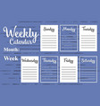 weekly calendar template vector image vector image
