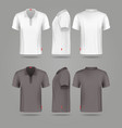 white black mens polo t-shirt front back and side vector image vector image