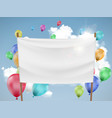 white fabric banner with multicolored balloons vector image