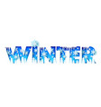 winter word with paper cut trees icicles vector image vector image