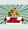 woman pop art greeting christmas vector image vector image