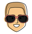 young man head with sunglasses avatar character vector image
