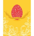 easter card with flowers and red egg vector image
