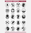 20 menopause symptoms set icons vector image