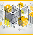 abstract geometric 3d cube pattern and yellow vector image
