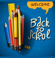 back to school title words with realistic school vector image