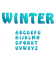 Blue ice shiny letters holiday winter fonts vector image