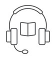 book with headphones thin line icon e learning vector image vector image