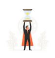 businessman hold hourglass over his head business vector image