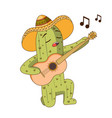 cartoon character cactus in hat with guitar vector image