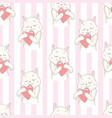 cats seamless pattern with hearts cute hand drawn vector image