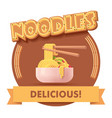 chinese noodles icon or label for menu vector image vector image