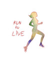 colored poster with a silhouette a running girl vector image