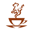 cup of hot coffe with vapor looking like a cook vector image vector image