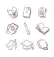 cute cartoon book notebook calendar vector image vector image