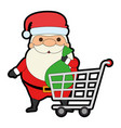 cute santa claus with shopping cart kawaii vector image